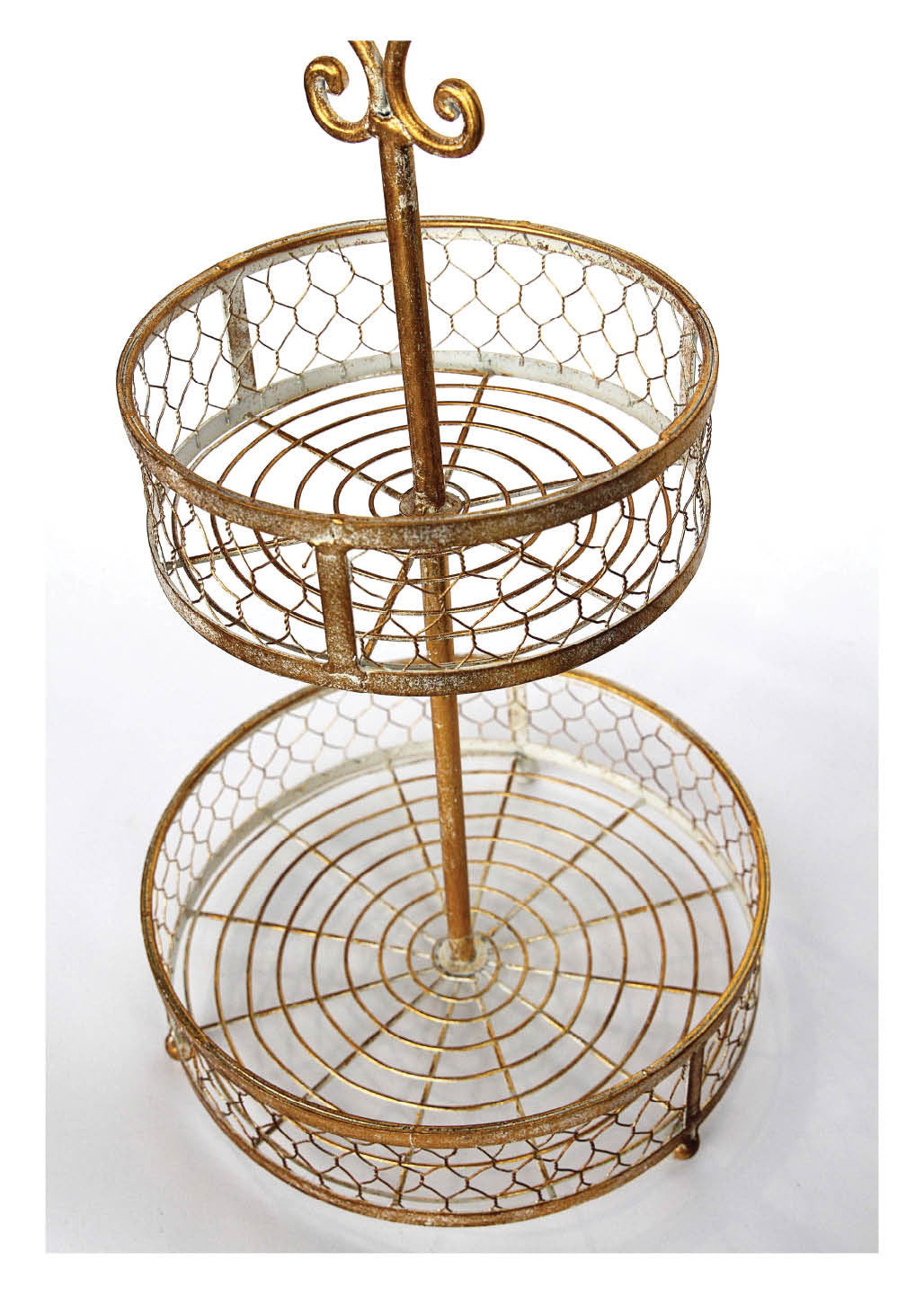 2-Tier Basket in Rust Gold