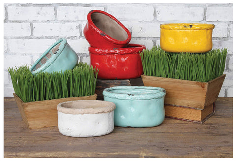 Handsome Ceramic Containers in 4 Colors