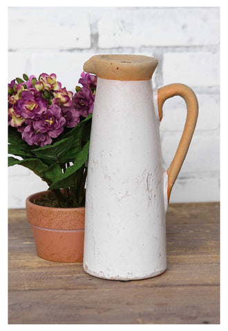2 Tone Crackle White Ceramic Pitcher