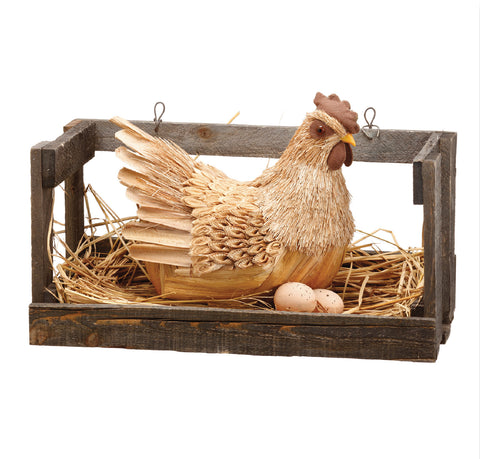"10"" Sisal Hen with Eggs in Cage!"