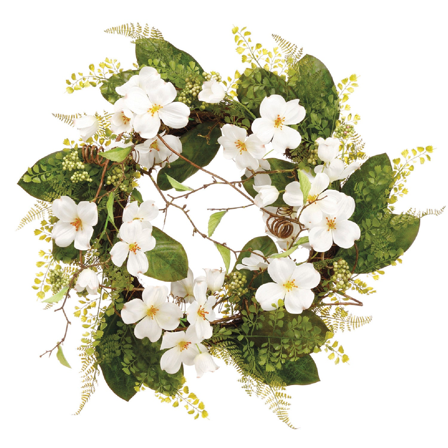 "Delightful White 26"" Dogwood & Fern Wreath!"