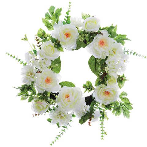 "Perfect White 24"" Peony & Rose Wreath!"