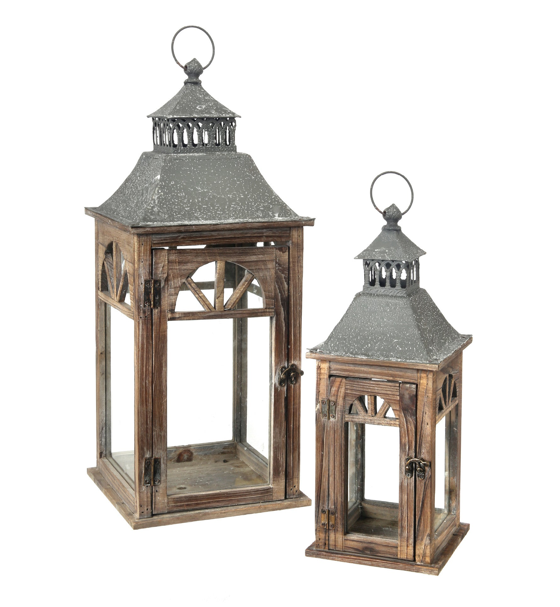 Natural Wood & Metal Arch Window Lanterns!