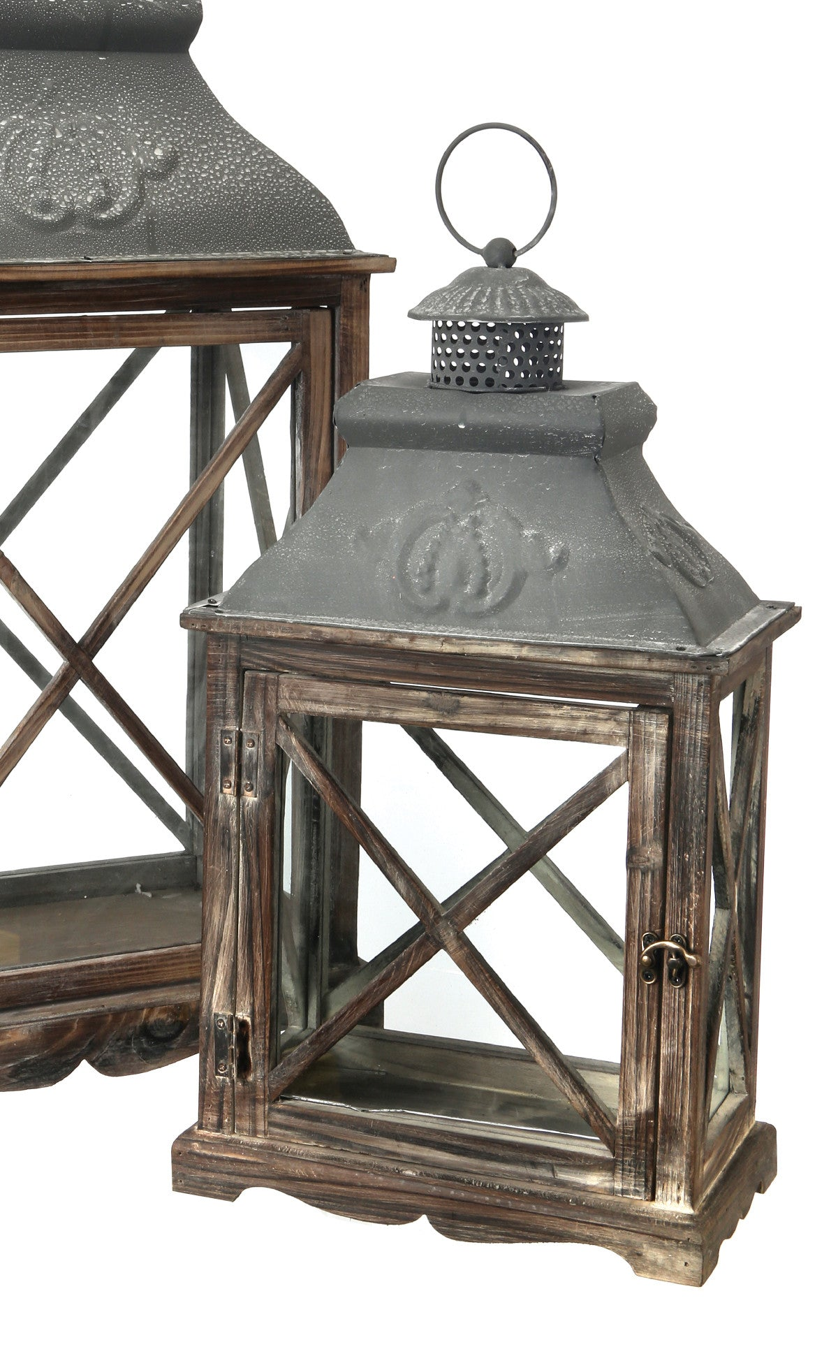 Natural Wood & Metal Crisscross Lanterns!