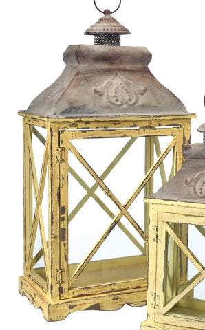 Yellow Wood & Metal Crisscross Lanterns!