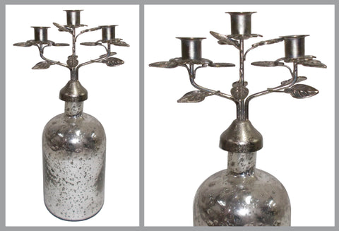 Mercury Glass Jar with Arm Iron Candelabra