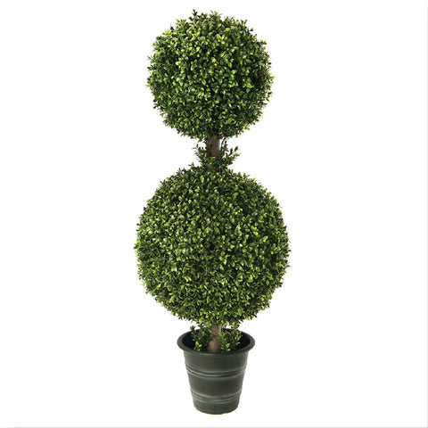 "44"" Plastic 2-Ball Boxwood Topiary!"