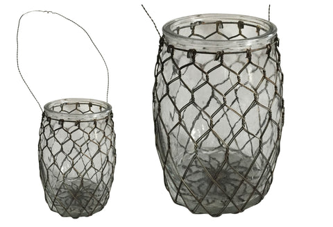 Glass & Wire Hanging Eugenia Vase with Handle