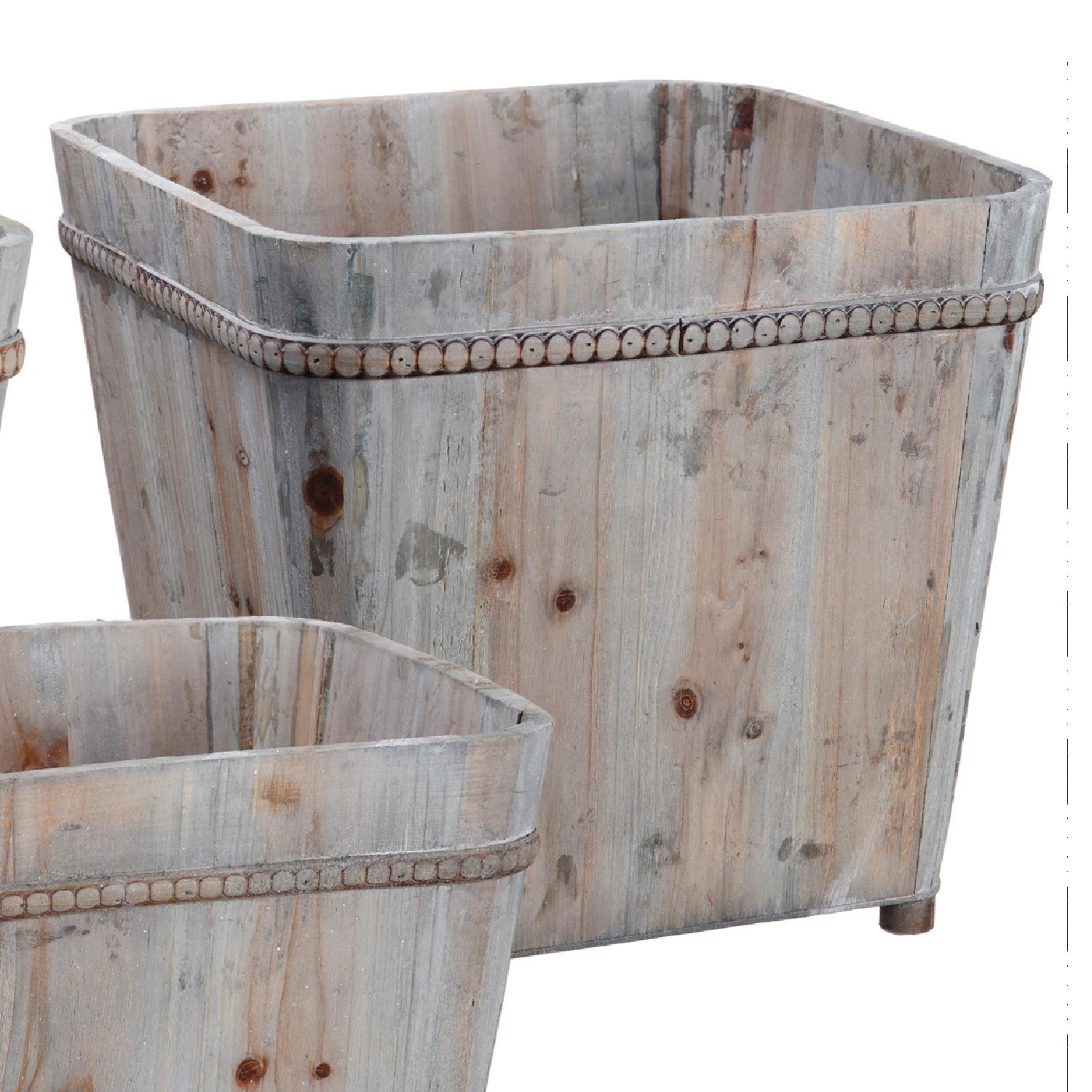 Fancy Footed Wood Containers with Trim!