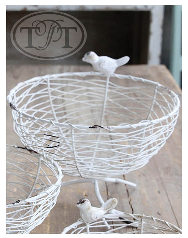 Wire Weave Footed Bowls with Bird Ornaments