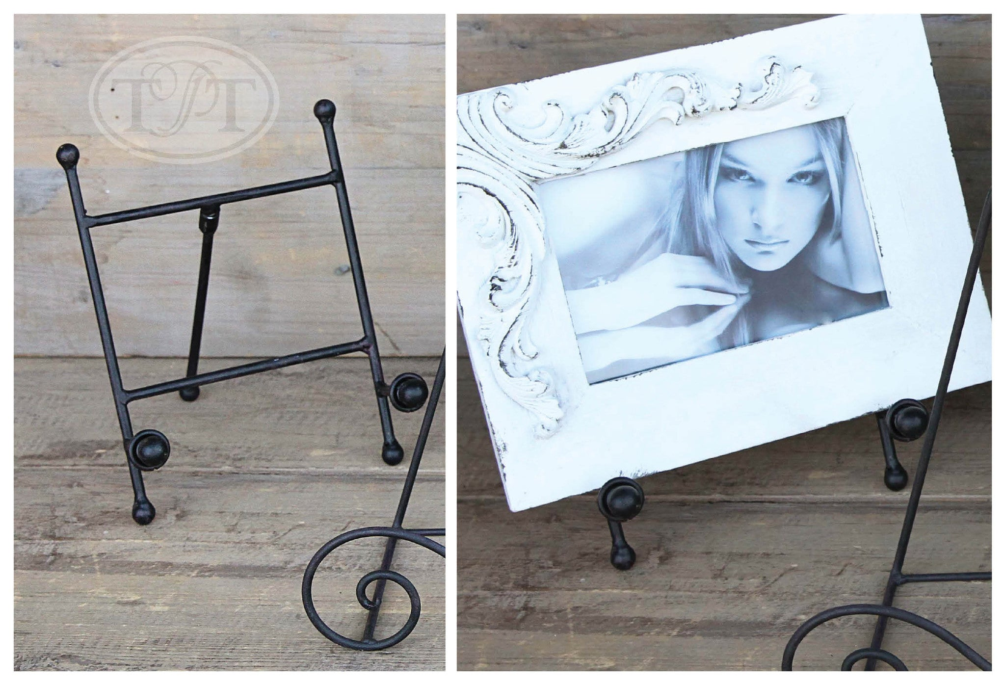 Small Black Metal Easel with Orb Detail on Tray