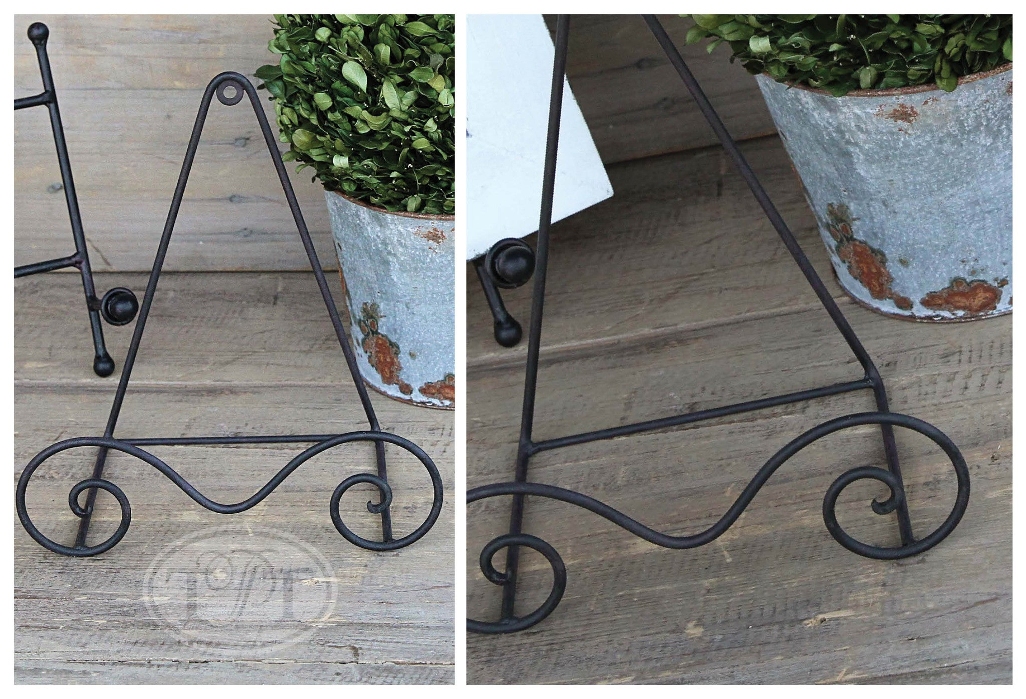 Black Metal Easel with Curled Tray