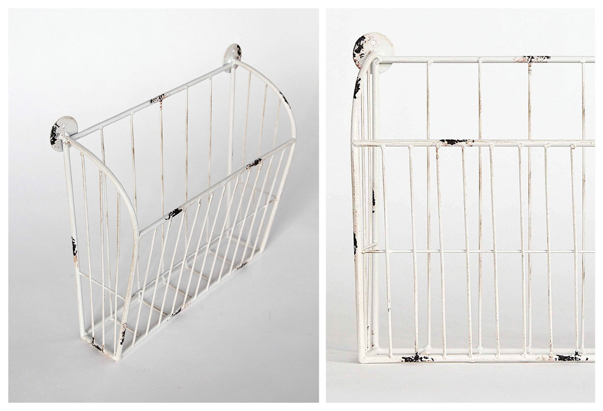 Metal Wall Baskets in Antique White