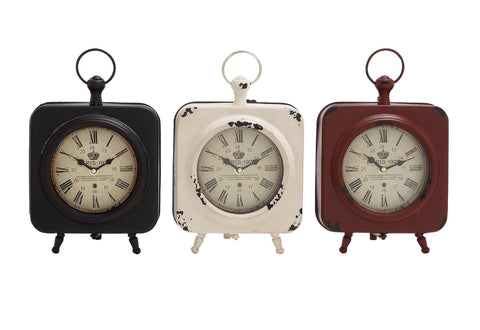 Metal Footed Table Clock in 3 Colors