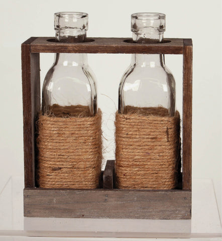 Jute Wrapped Double Bottle Wood Vase