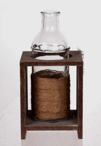 Jute Wrapped Single Bottle Wood Vase