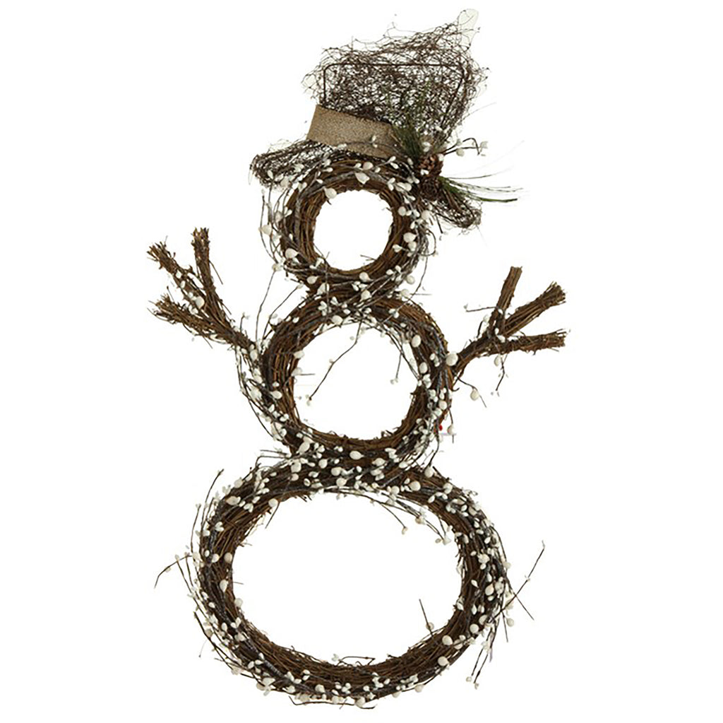TWIG AND BERRY SNOWMAN WREATH