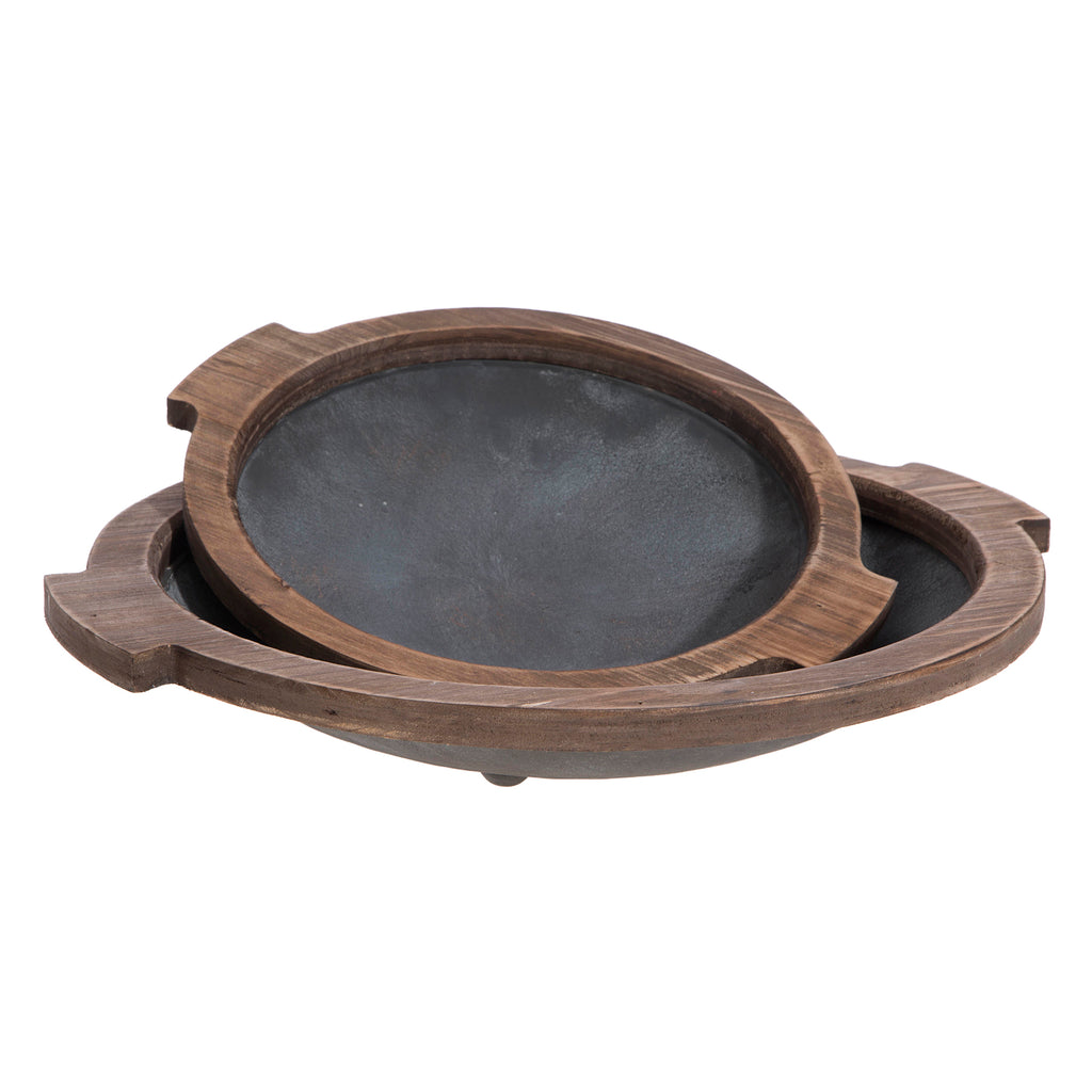 Round Wood and Metal Trays!