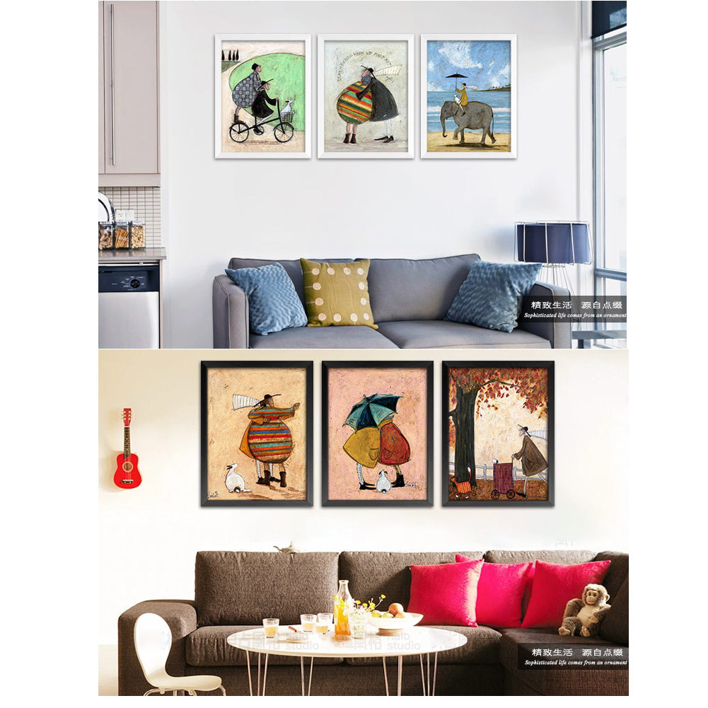 Nordic Decorative Painting, Modern Minimalist Living Room, Retro Painting, F