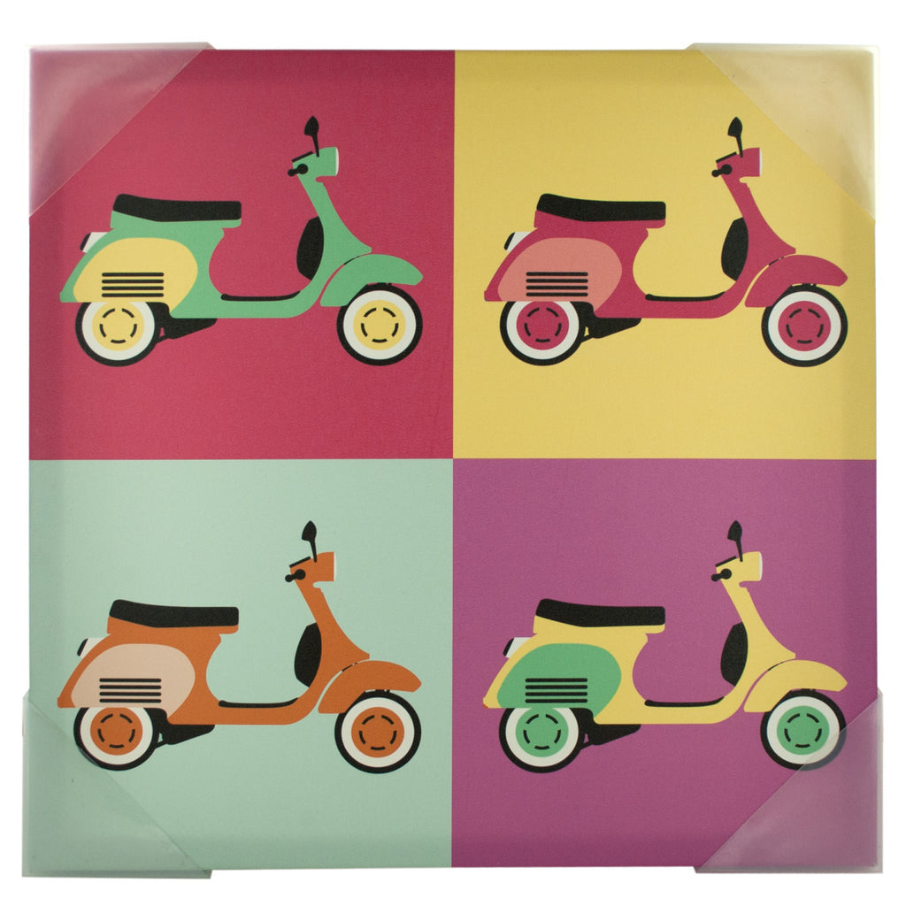 Vintage Scooters Pop Art Canvas Wall Art Case Pack 4