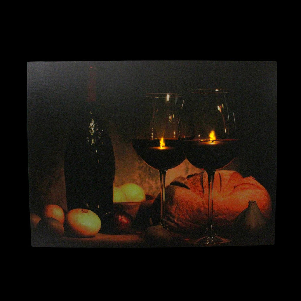 "LED Lighted Flickering Wine, Bread and Candles Canvas Wall Art 11.75"" x 15.75"""