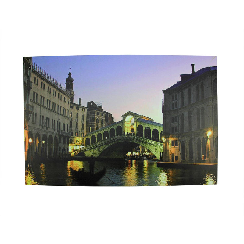 "LED Lighted Venice City Italy Nighttime Scene Canvas Wall Art 15.75"" x 23.5"""
