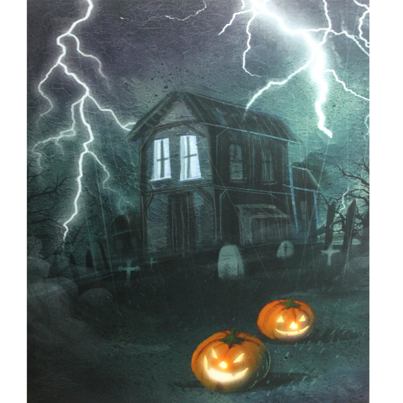 "LED Lighted Halloween Haunted House with Jack-O'-Lanterns Canvas Wall Art  23.5"" x 19.75"""
