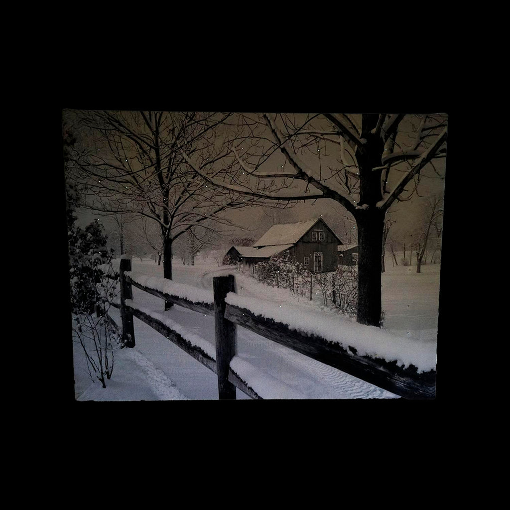 "Fiber Optic Lighted Snowfall Country Rustic Farmhouse Christmas Canvas Wall Art 11.75"" x 15.75"""