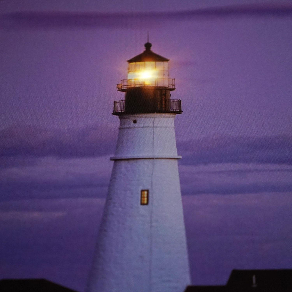 "LED Lighted Coastal Lighthouse Home with Purple Sunset Canvas Wall Art 15.75"" x 23.5"""