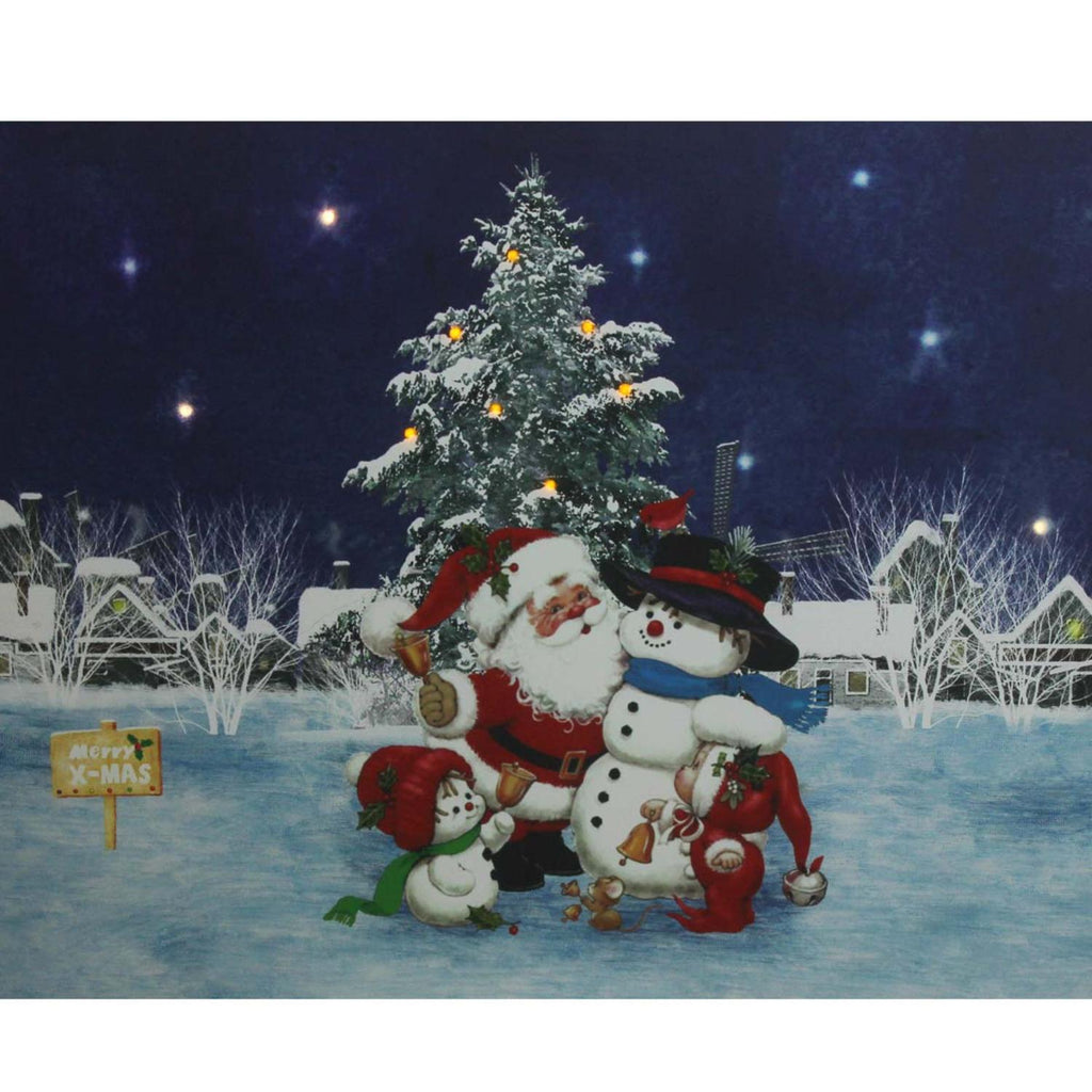 "LED Lighted Santa Claus with Snowmen and Christmas Tree Canvas Wall Art 15.75"" x 19.5"""