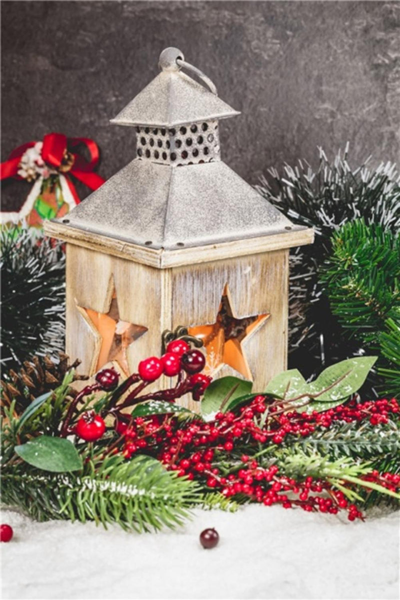 "LED Lighted Flickering Christmas Candle Lantern with Berries and Greenery 15.75"" x 11.75"""