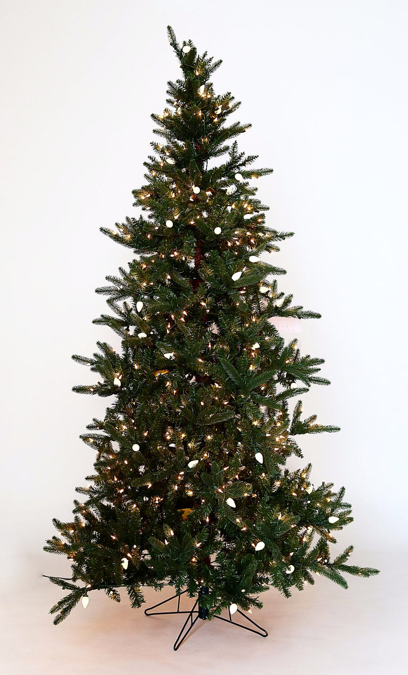 LIT NATURAL BALSAM CHRISTMAS TREES WITH C7 MULTI AND CLEAR LIGHTS