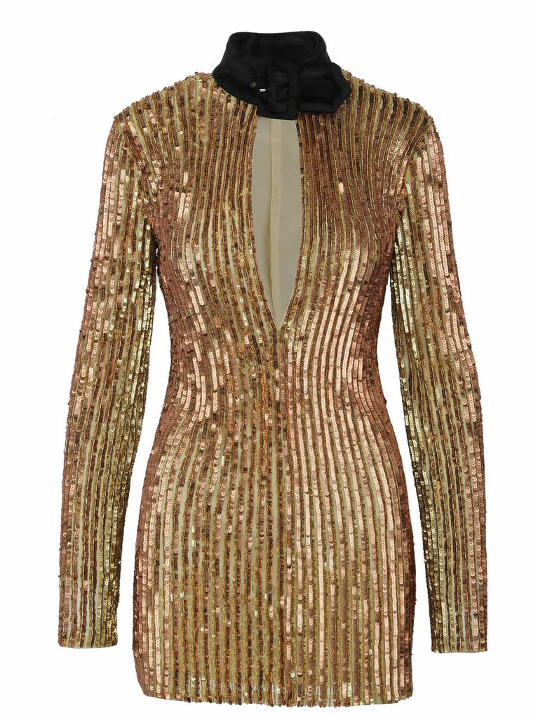 THE ATTICO GOLD KLEID