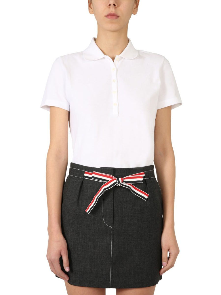 THOM BROWNE WEISS POLOSHIRT