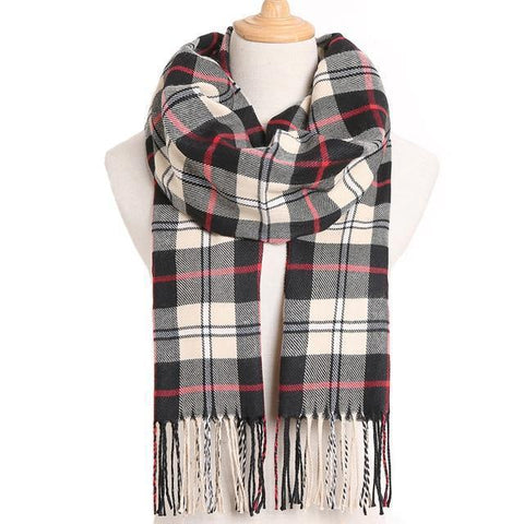 Women's Checkered Scarves - warm together