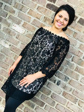 Load image into Gallery viewer, NO WORRIES LACE DRESS BLACK