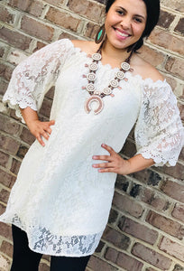 NO WORRIES LACE DRESS IVORY