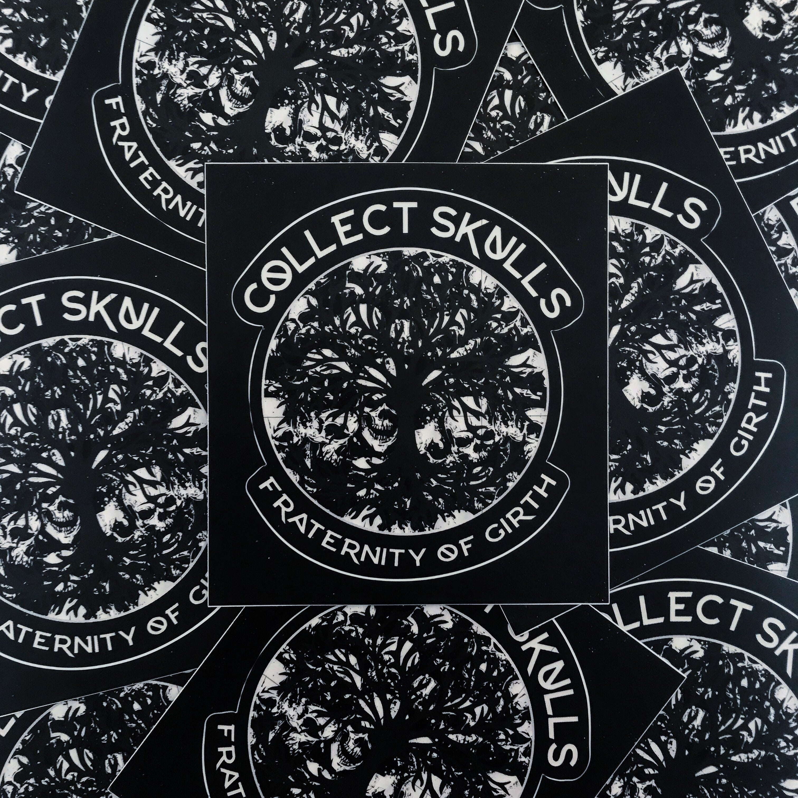 """COLLECT SKULLS"" STICKER (3.7""x4"")"