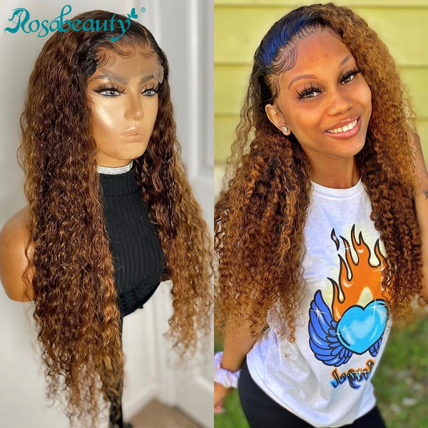 4x4 #1B/27 Ombre Lace Front Wig Afro Curly Virgin Human Hair