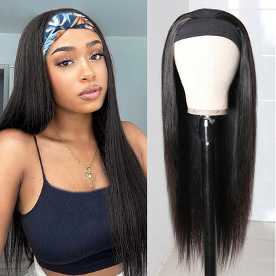 Straight Headband Wig Virgin Human Hair(Get Free Headband)