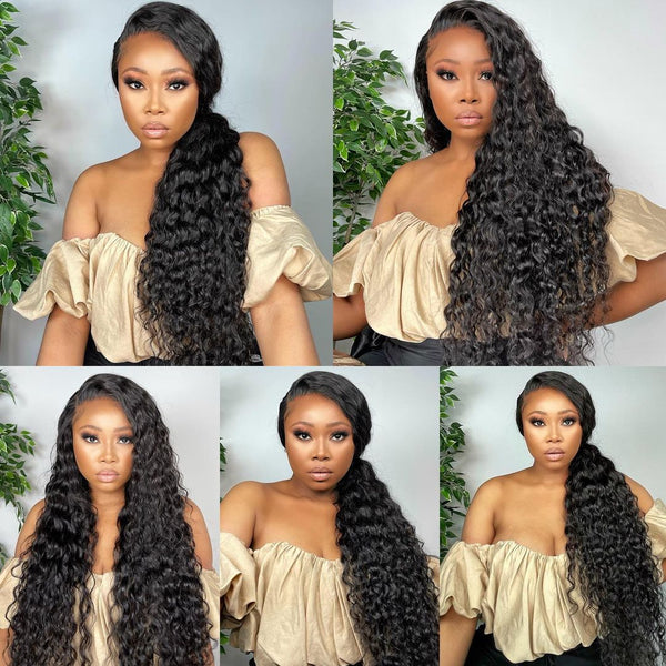 13x4/T Part Deep Wave Lace Front Wig Virgin Human Hair Pre-Plucked With Baby Hair