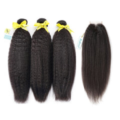 Rosabeauty 7A 3 Bundles Hair Weave Brazilian Hair With Lace Closure Kinky Straight