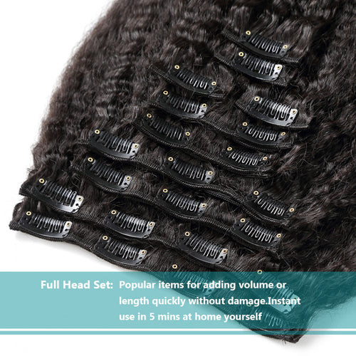 140G Brazilian Hair Kinky Straight Clip in Hair Extension #1B 10PSet
