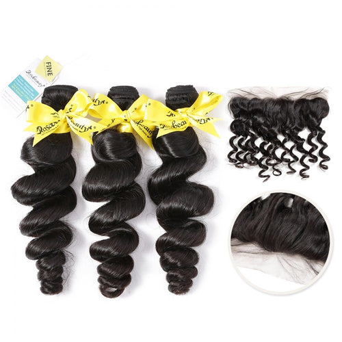 Rosabeauty 7A 3 Bundles Hair Weave Brazilian with Frontal Hair Loose Wave