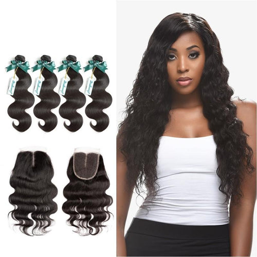Rosabeauty 7A 4 Bundles Hair Weave Brazilian Hair With Lace Closure Body Wave