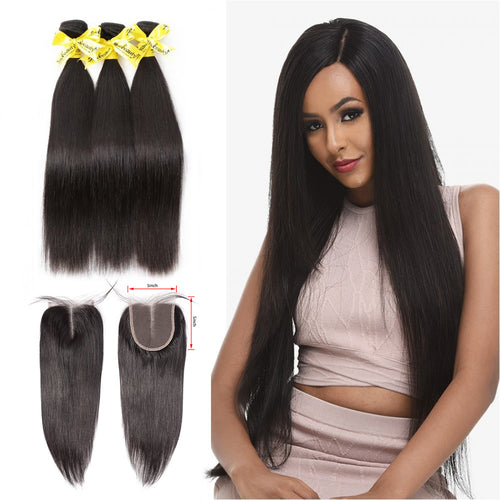 Rosabeauty 7A 3 Bundles Hair Weave Brazilian Hair With 5x5 Lace Closure Straight