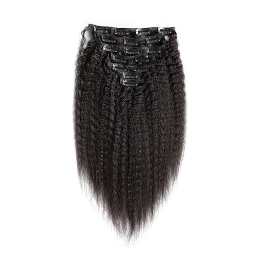 70G Brazilian Hair Kinky Straight Clip in Hair Extension #1B 7PSet