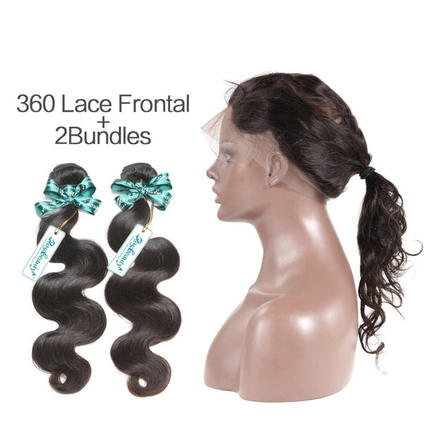 7A 2Bundles Brazilian Hair with 360 Frontal Body Wave