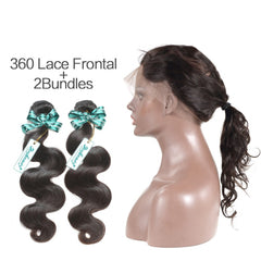 Rosabeauty 7A 2Bundles Brazilian Hair with 360 Frontal Body Wave