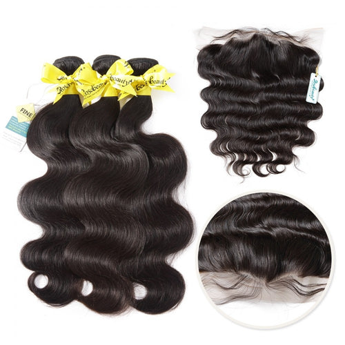Rosabeauty 7A 3 Bundles Brazilian Hair With Frontal Body Wave